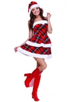 Red Chic Womens Tube Plaid Fur Dress Christmas Santa Costume