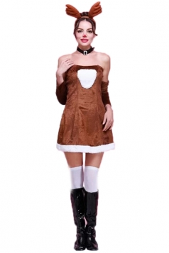 Coffee Pretty Ladies Tube Dress Santa Reindeer Christmas Costume