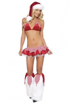 Red Sexy Womens Bikini Christmas Pleuche Stripe Santa Costume