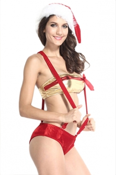 Red Pretty Womens Suspenders Color Block Christmas Lingerie