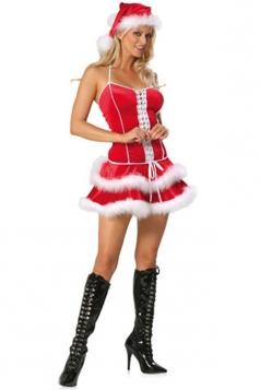 Red Elegant Womens Christmas Ruffle Dress Pleuche Santa Costume