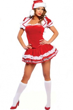 Red Sexy Ladies Pleated Dress Christmas Flannel Santa Costume