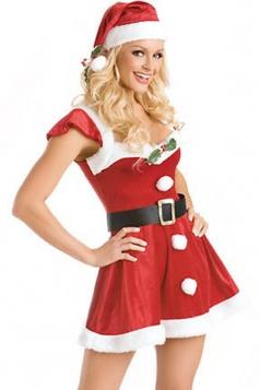 Red Cute Womens Flannel Christmas Dress Santa Costume