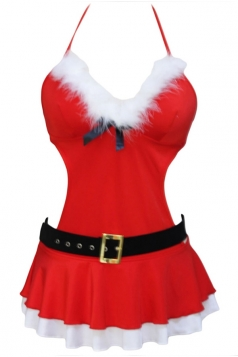 Red Sexy Womens Halter Sleeveless Christmas Belt Santa Costume
