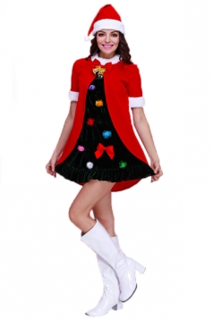 Red Cute Ladies Christmas Tree Colorful Dress Santa Costume