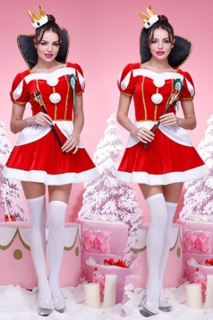 Red Stylish Womens Christmas Queen Party Dress Santa Costume