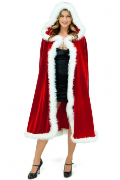 Red Classic Ladies Hooded Cloak Christmas Santa Costume
