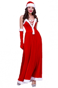 Red Elegant Womens Tube Strapless Christmas Santa Costume