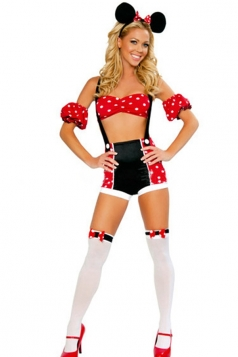 Red Cute Ladies Suspenders Halloween Mouse Costume