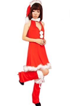 Red Cute Ladies Deep V Dress Christmas Santa Costume