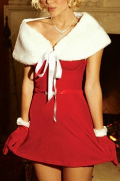 Red Cute Womens Christmas Dress with Shawl Santa Costume