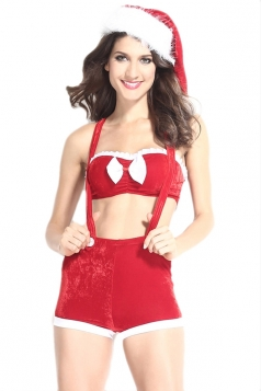 Red Chic Ladies Bandeau Top Suspenders Bottom Christmas Lingerie