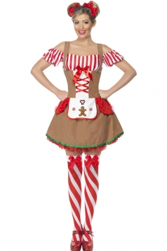 Khaki Funny Womens Strap Christmas Dress Flannel Santa Costume