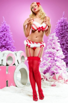 Red Chic Womens Christmas Strip Strap Flannel Santa Costume
