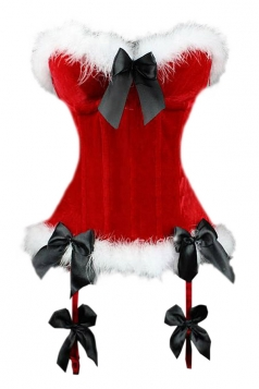 Red Sexy Womens Santa Over Bust Corset Bow Christmas Lingerie