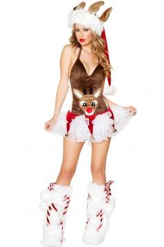 Coffee Ladies Reindeer Princess Christmas Skirt Santa Costume