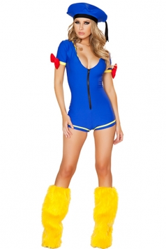 Blue Modern Ladies Deep V Bodysuit Bow Color Block Sailor Costume