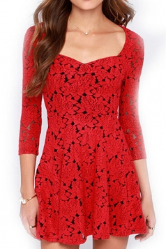 Red Womens Sexy Roses Fancy Vintage Skater Dress