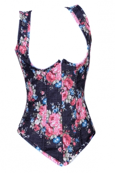 Pink Pretty Ladies Flower Printed Lingerie Corset with Straps