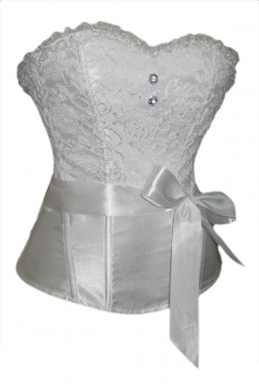White Sexy Ladies Patchwork Lace Lingerie Belt Bridal Corset