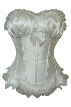 White Pretty Ladies Bow Pleated Plain Lingerie Bridal Corset
