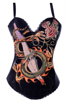 Black Womens Dragon Sword Printed Lingerie Corset with Straps
