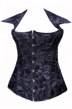 Black Ladies Halter Floral Lace Up Lingerie Corset with Straps