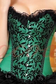 Green Elegant Ladies Lace Floral Lingerie St Patrick Corset