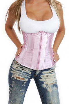 Pink Pretty Ladies Plain Bridal Lingerie Under Bust Corset
