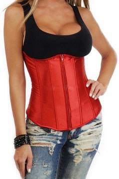Red Pretty Ladies Plain Bridal Lingerie Under Bust Corset