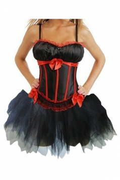 Black Womens Bow Pleated Dress Lingerie Lace Corset with Straps