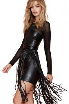 Black Mesh Patchwork Sexy Ladies Tassels Vintage PU Leather Dress