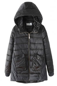 Black Fashion Womens Long Color Block Hooded Quilted Coat