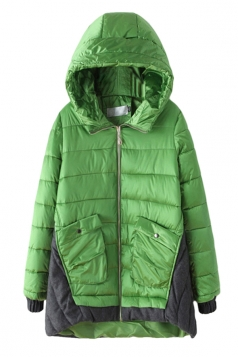 Green Fashion Womens Long Color Block Hooded Quilted Coat