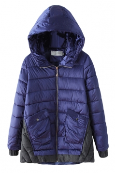 Navy Blue Fashion Womens Long Color Block Hooded Quilted Coat