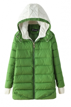 Green Modern Womens Hooded Color Block Long Quilted Coat