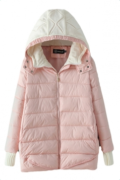 Pink Modern Womens Hooded Color Block Long Quilted Coat