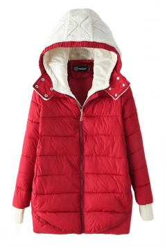 Red Modern Womens Hooded Color Block Long Quilted Coat