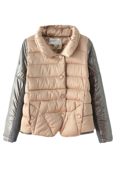 Pink Leather Patchwork Stand Collar Warm Winter Quilted Car Coat