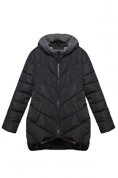 Black Winter Womens Hooded Quilted Fashion Over Coat