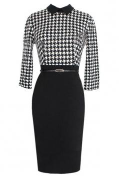 Black Womens Houndstooth Vintage Slim Fashion Midi Dress