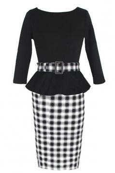 Black Vintage Slim Womens Plaid Patchwork Peplum Dress