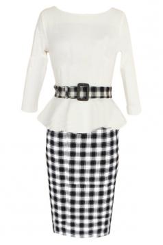 White Vintage Slim Womens Plaid Patchwork Peplum Dress