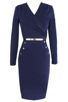 Blue Womens Fashion Long Sleeves V Neck Wrap Midi Dress