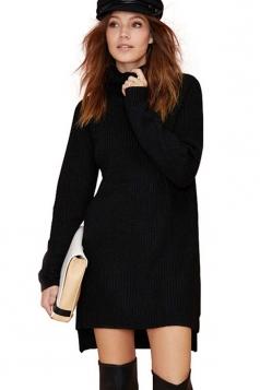 Black Charming Ladies High Low Warm Winter Sweater Dress
