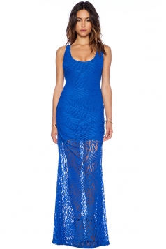 Blue Sexy Ladies Lace Hollow Out Sleeveless Fashion Prom Dress