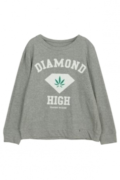 Gray Ladies Pullover Crew Neck Diamond Printed Sweatshirt