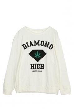 White Ladies Pullover Crew Neck Diamond Printed Sweatshirt