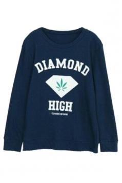 Navy Blue Ladies Pullover Crew Neck Diamond Printed Sweatshirt