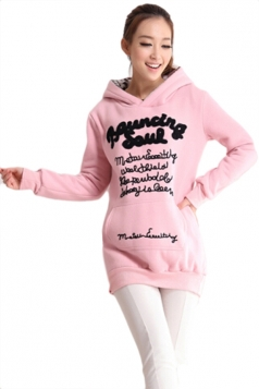 Pink Cool Womens Cotton Pullover Thick Letter Printed Hoodie
